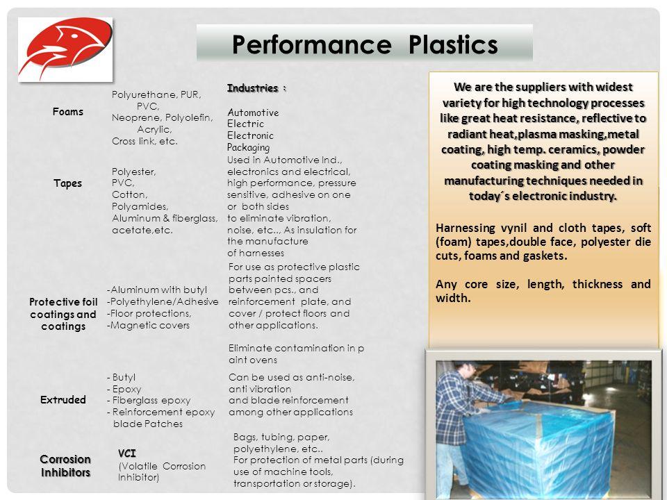Performance Plastics Foams Polyurethane, PUR, PVC, Neoprene, Polyolefin, Acrylic, Cross link, etc.