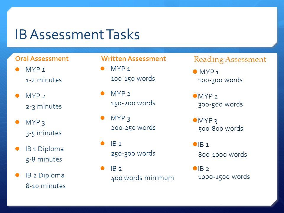 IB Assessment Tasks Oral Assessment MYP 1 1-2 minutes MYP 2 2-3 minutes MYP 3 3-5 minutes IB 1 Diploma 5-8 minutes IB 2 Diploma 8-10 minutes Written A