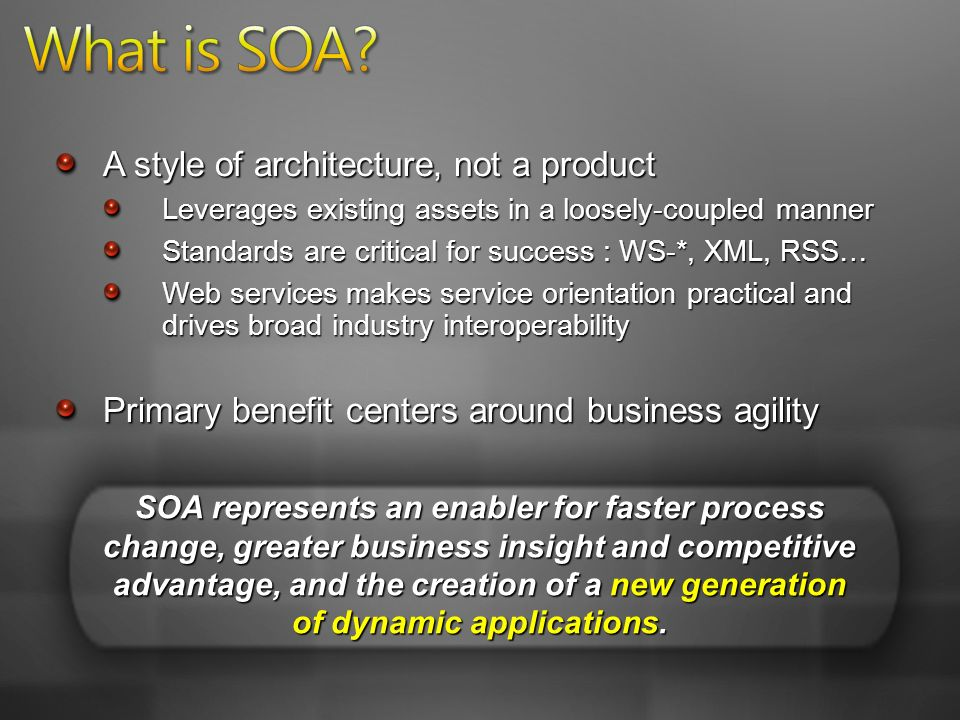 A style of architecture, not a product Leverages existing assets in a loosely-coupled manner Standards are critical for success : WS-*, XML, RSS… Web services makes service orientation practical and drives broad industry interoperability Primary benefit centers around business agility SOA represents an enabler for faster process change, greater business insight and competitive advantage, and the creation of a new generation of dynamic applications.