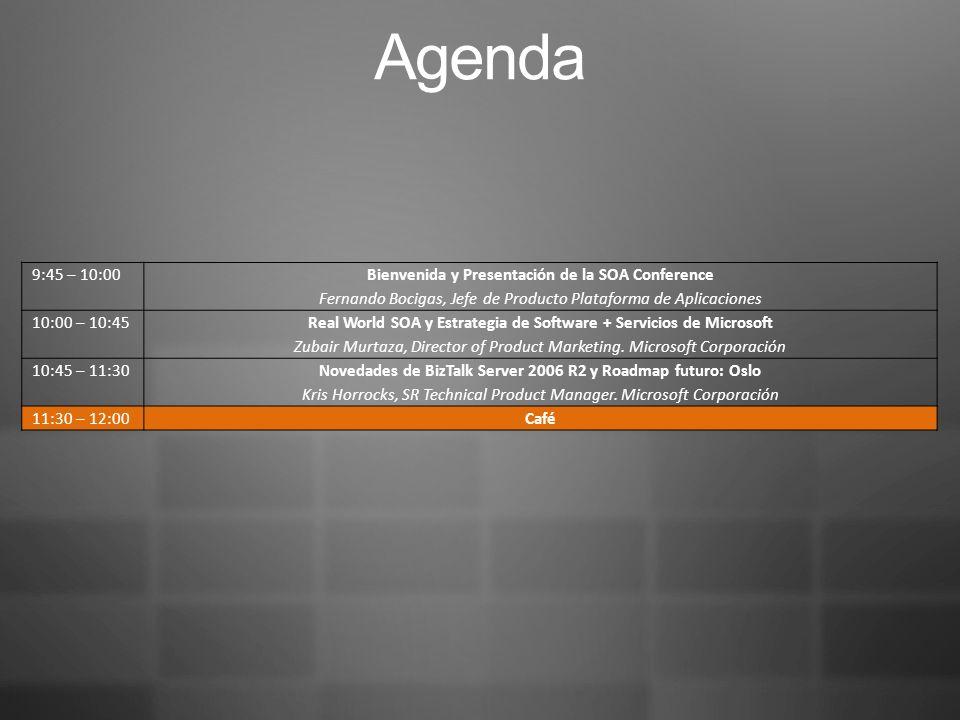 Agenda 9:45 – 10:00 Bienvenida y Presentación de la SOA Conference Fernando Bocigas, Jefe de Producto Plataforma de Aplicaciones 10:00 – 10:45 Real World SOA y Estrategia de Software + Servicios de Microsoft Zubair Murtaza, Director of Product Marketing.