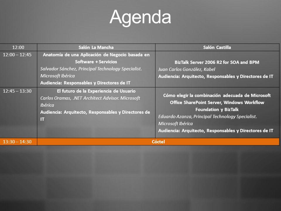 Agenda 12:00Salón La Mancha Salón Castilla 12:00 – 12:45 Anatomía de una Aplicación de Negocio basada en Software + Servicios Salvador Sánchez, Principal Technology Specialist.