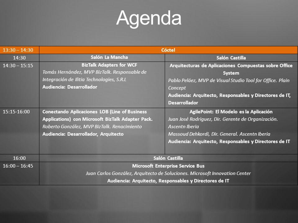 Agenda 13:30 – 14:30Cóctel 14:30 Salón La Mancha Salón Castilla 14:30 – 15:15 BizTalk Adapters for WCF Tomás Hernández, MVP BizTalk.