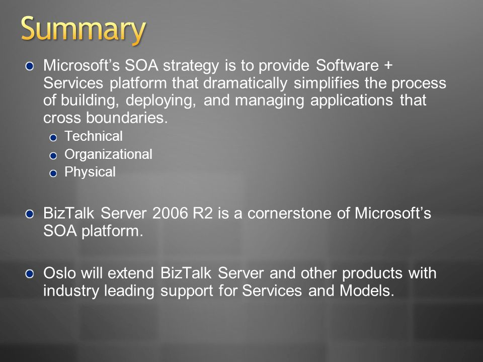 Microsofts SOA strategy is to provide Software + Services platform that dramatically simplifies the process of building, deploying, and managing applications that cross boundaries.