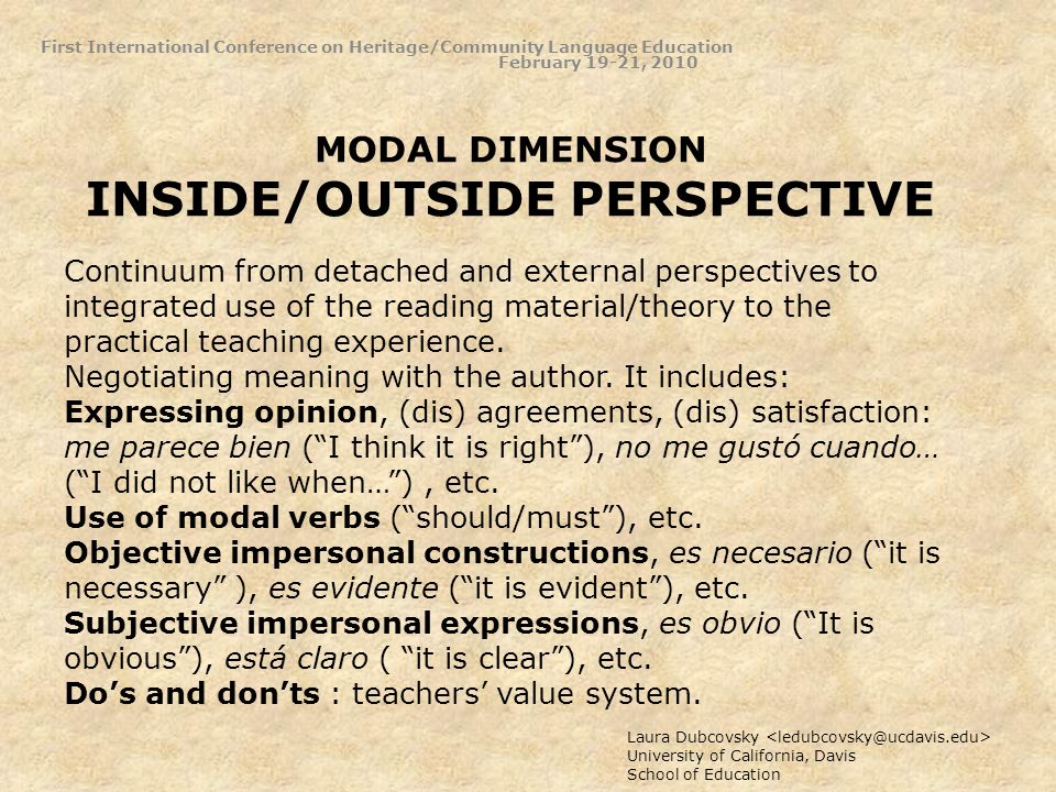 MODAL DIMENSION INSIDE/OUTSIDE PERSPECTIVE Laura Dubcovsky University of California, Davis School of Education Continuum from detached and external perspectives to integrated use of the reading material/theory to the practical teaching experience.