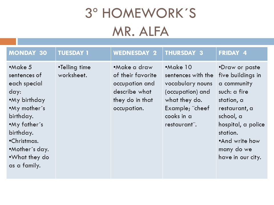 3º HOMEWORK´S MR. ALFA MONDAY 30TUESDAY 1WEDNESDAY 2THURSDAY 3FRIDAY 4 Make 5 sentences of each special day: My birthday My mother´s birthday. My fath