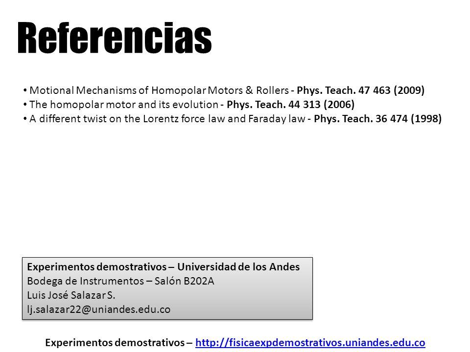 Referencias Experimentos demostrativos – http://fisicaexpdemostrativos.uniandes.edu.cohttp://fisicaexpdemostrativos.uniandes.edu.co Motional Mechanism