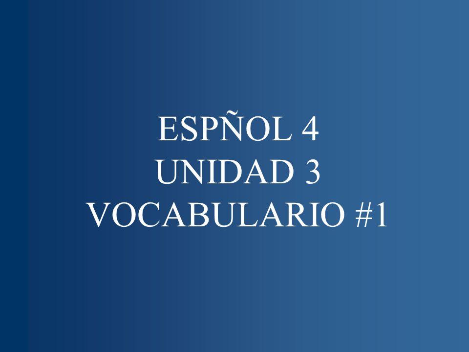 ESPÑOL 4 UNIDAD 3 VOCABULARIO #1