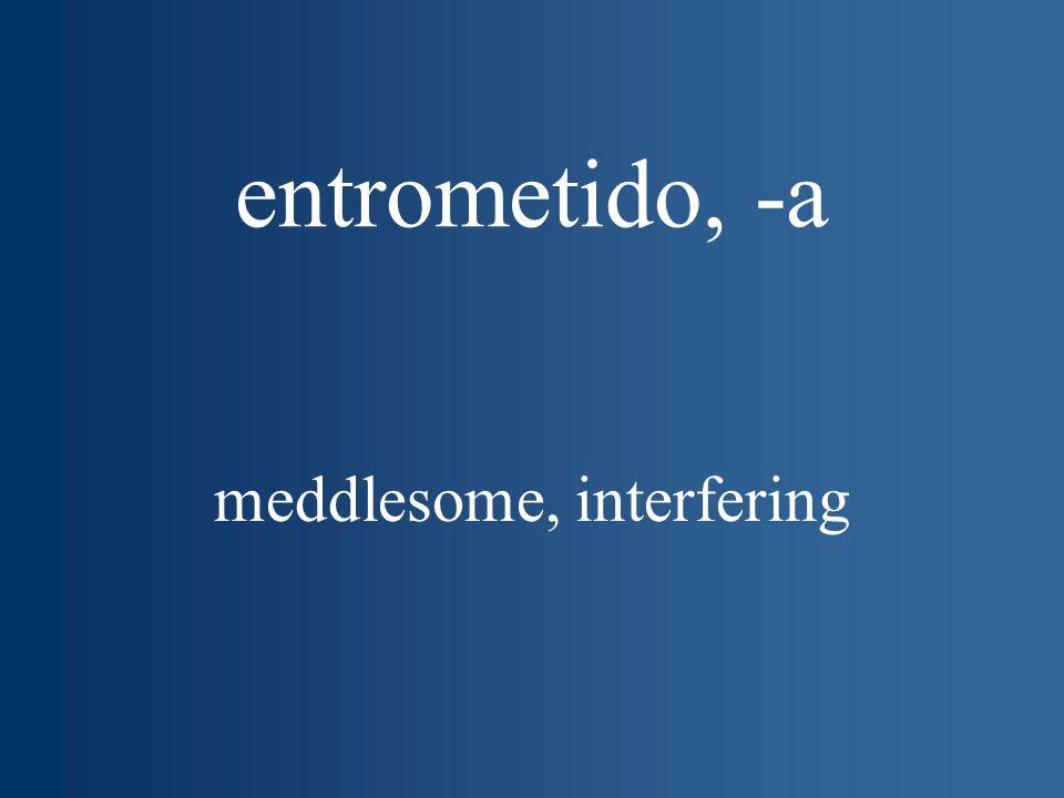 entrometido, -a meddlesome, interfering