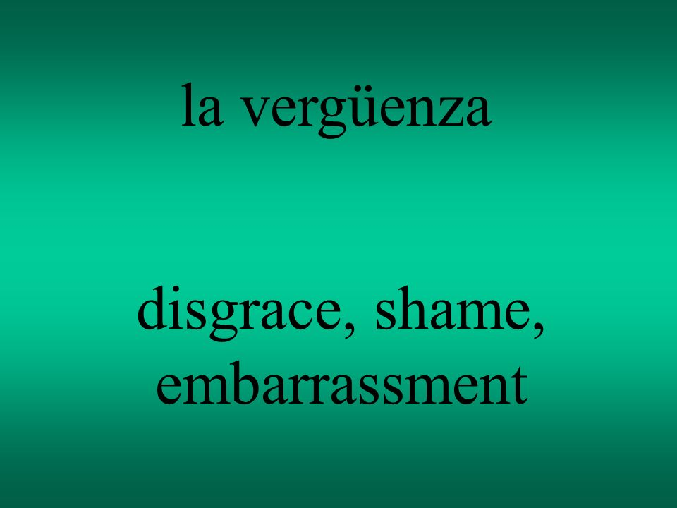 la vergüenza disgrace, shame, embarrassment