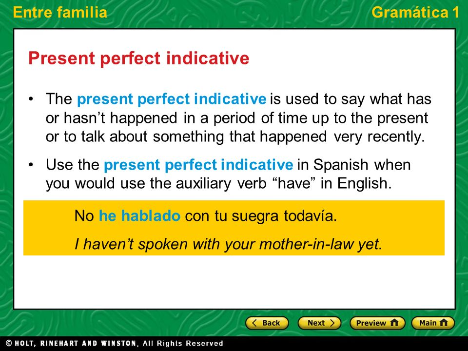 Entre familiaGramática 1 Present perfect indicative The present perfect indicative is used to say what has or hasnt happened in a period of time up to
