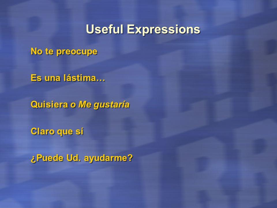 Useful Expressions No te preocupe Es una lástima… Quisiera o Me gustaría Claro que sí ¿Puede Ud. ayudarme? No te preocupe Es una lástima… Quisiera o M