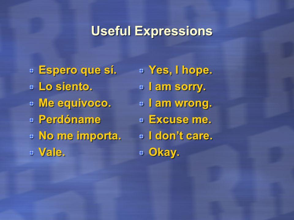 Useful Expressions Espero que sí. Lo siento. Me equivoco. Perdóname No me importa. Vale. Espero que sí. Lo siento. Me equivoco. Perdóname No me import