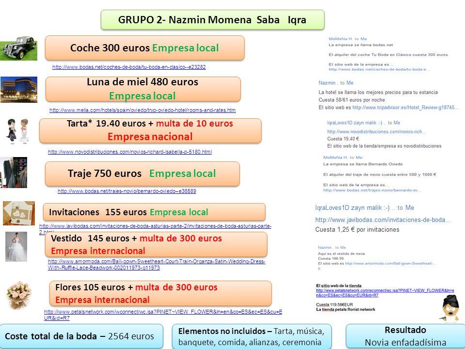 GRUPO 2- Nazmin Momena Saba Iqra Coche 300 euros Empresa local Luna de miel 480 euros Empresa local Luna de miel 480 euros Empresa local Tarta* 19.40