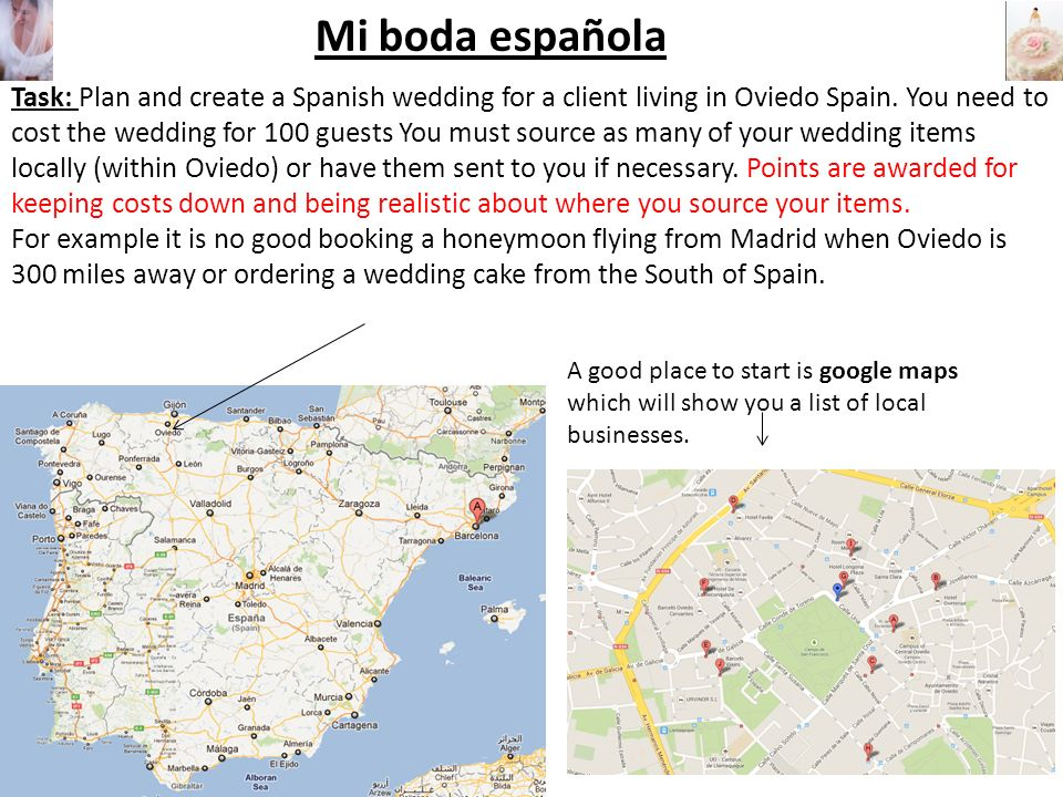 Mi boda española Task: Plan and create a Spanish wedding for a client living in Oviedo Spain.