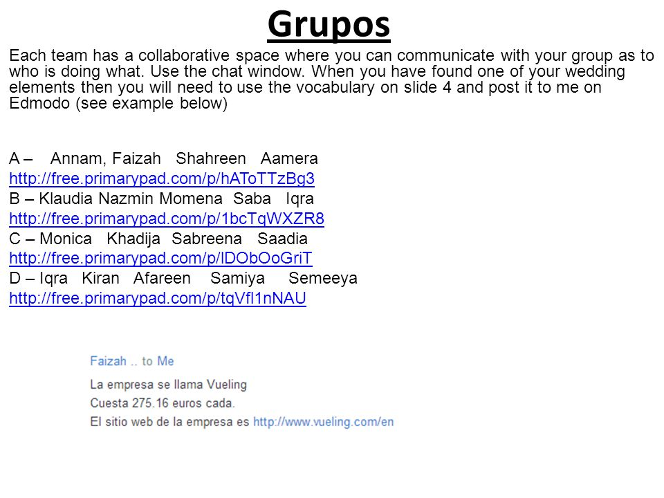 Grupos Each team has a collaborative space where you can communicate with your group as to who is doing what.