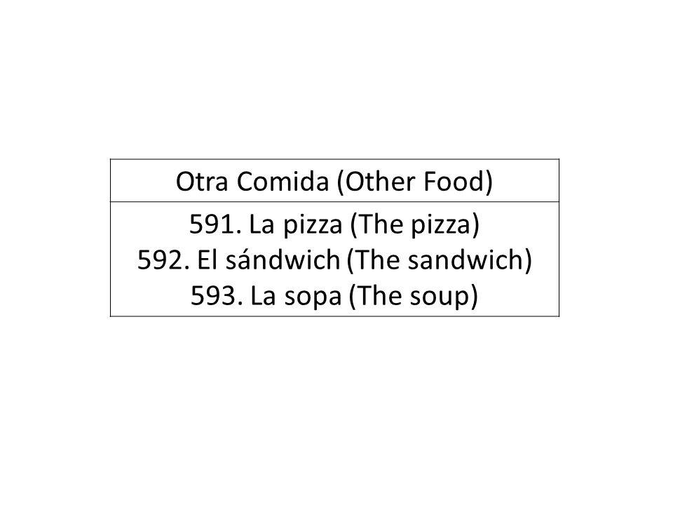 Otra Comida (Other Food) 591. La pizza (The pizza) 592. El sándwich (The sandwich) 593. La sopa (The soup)