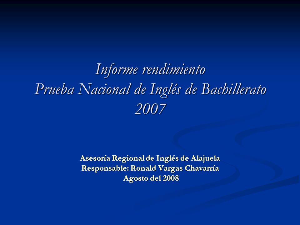 Informe rendimiento Prueba Nacional de Inglés de Bachillerato 2007 Asesoría Regional de Inglés de Alajuela Responsable: Ronald Vargas Chavarría Agosto
