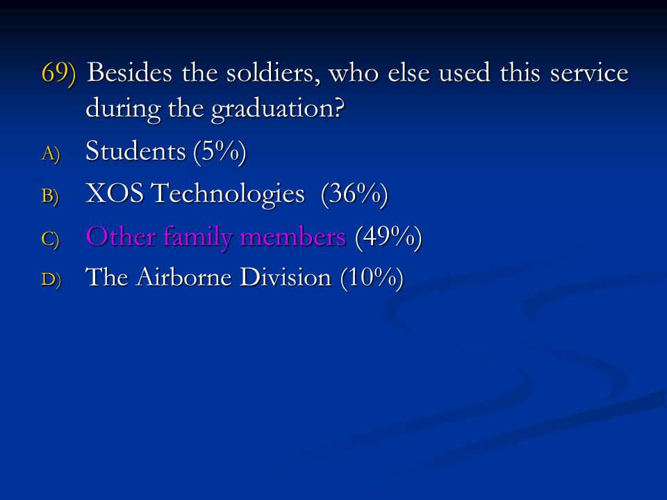 69) Besides the soldiers, who else used this service during the graduation.