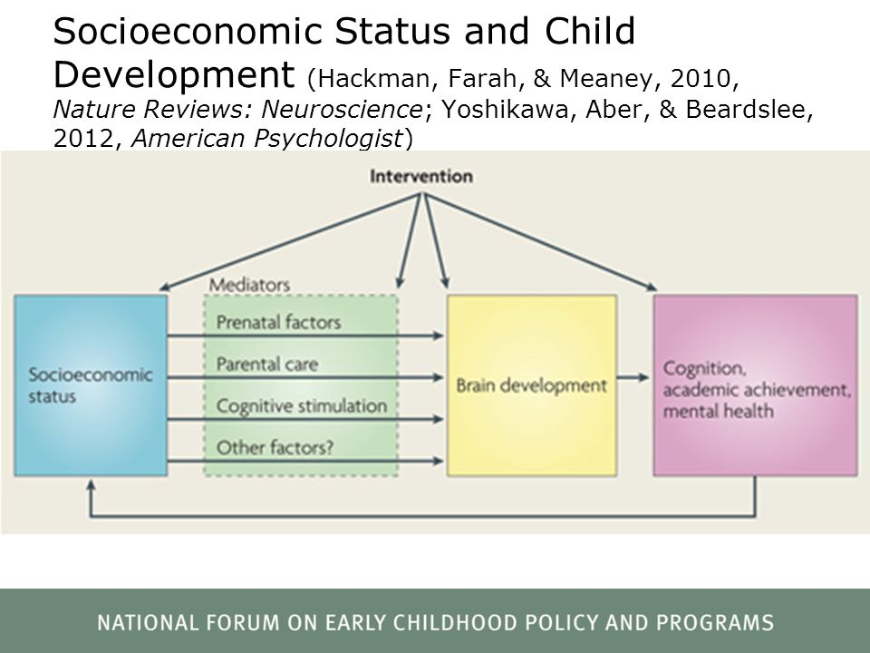 Socioeconomic Status and Child Development (Hackman, Farah, & Meaney, 2010, Nature Reviews: Neuroscience; Yoshikawa, Aber, & Beardslee, 2012, American