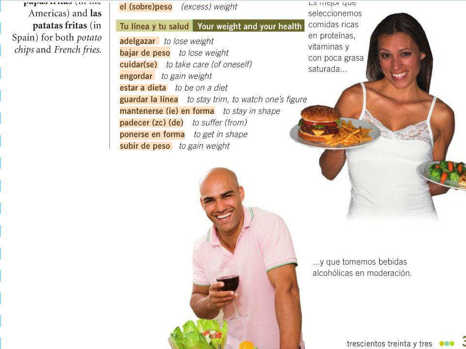 Las enfermedades y el bienestar (the sicknesses & the well-being) la diabetes – The diabetes Los ejercicios aeróbicos – Aerobics El estrés – The stress El peso – The weight El sobrepeso – The excess weight/obesity
