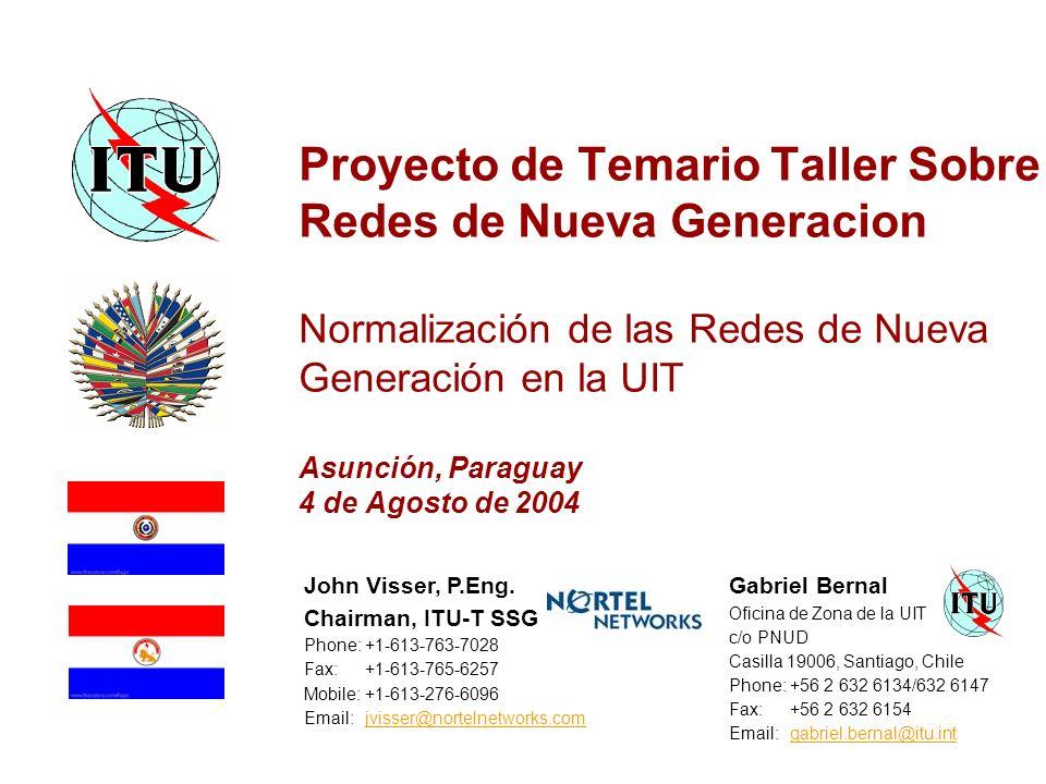 Proyecto de Temario Taller Sobre Redes de Nueva Generacion Normalización de las Redes de Nueva Generación en la UIT Asunción, Paraguay 4 de Agosto de 2004 John Visser, P.Eng.