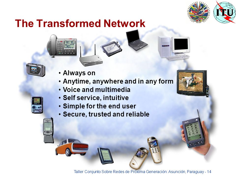 Taller Conjunto Sobre Redes de Próxima Generación: Asunción, Paraguay - 14 Always on Anytime, anywhere and in any form Voice and multimedia Self service, intuitive Simple for the end user Secure, trusted and reliable The Transformed Network