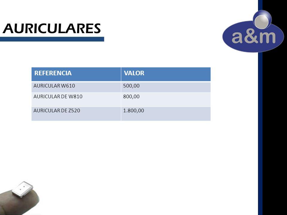 AURICULARES REFERENCIAVALOR AURICULAR W610500,00 AURICULAR DE W810800,00 AURICULAR DE Z5201.800,00