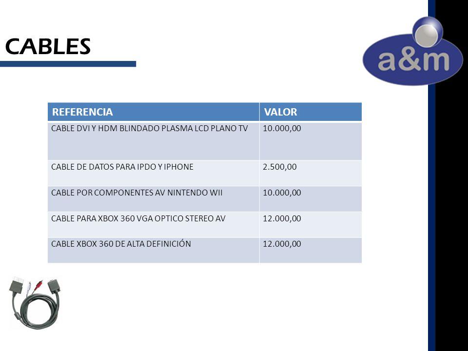 CABLES REFERENCIAVALOR CABLE DVI Y HDM BLINDADO PLASMA LCD PLANO TV10.000,00 CABLE DE DATOS PARA IPDO Y IPHONE2.500,00 CABLE POR COMPONENTES AV NINTENDO WII10.000,00 CABLE PARA XBOX 360 VGA OPTICO STEREO AV12.000,00 CABLE XBOX 360 DE ALTA DEFINICIÓN12.000,00
