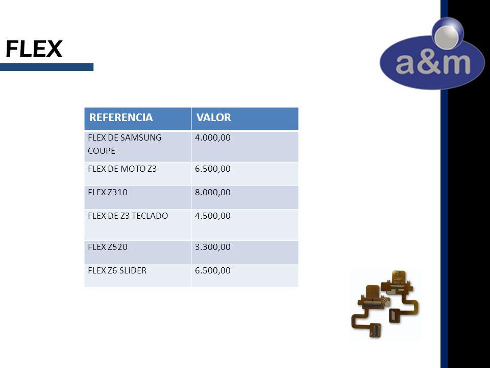 FLEX REFERENCIAVALOR FLEX DE SAMSUNG COUPE 4.000,00 FLEX DE MOTO Z36.500,00 FLEX Z3108.000,00 FLEX DE Z3 TECLADO4.500,00 FLEX Z5203.300,00 FLEX Z6 SLIDER6.500,00
