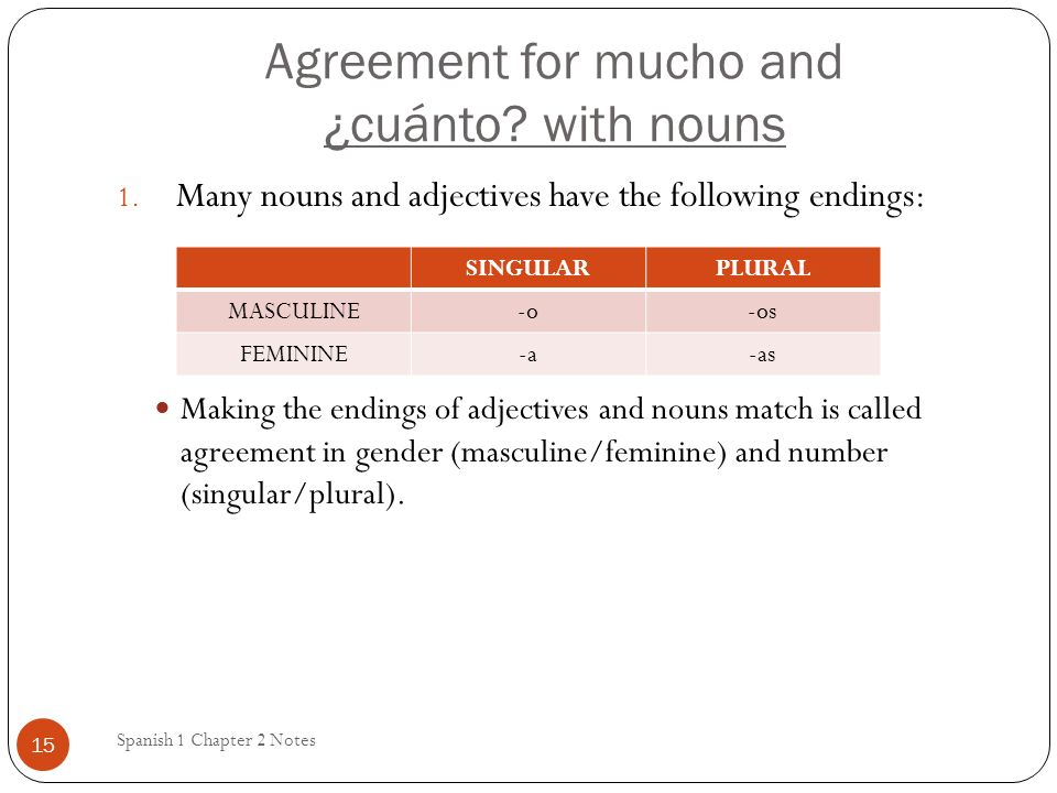 Agreement for mucho and ¿cuánto.with nouns Spanish 1 Chapter 2 Notes 15 1.