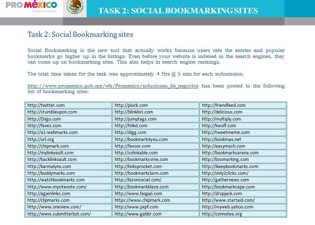 TASK 2: SOCIAL BOOKMARKING SITES