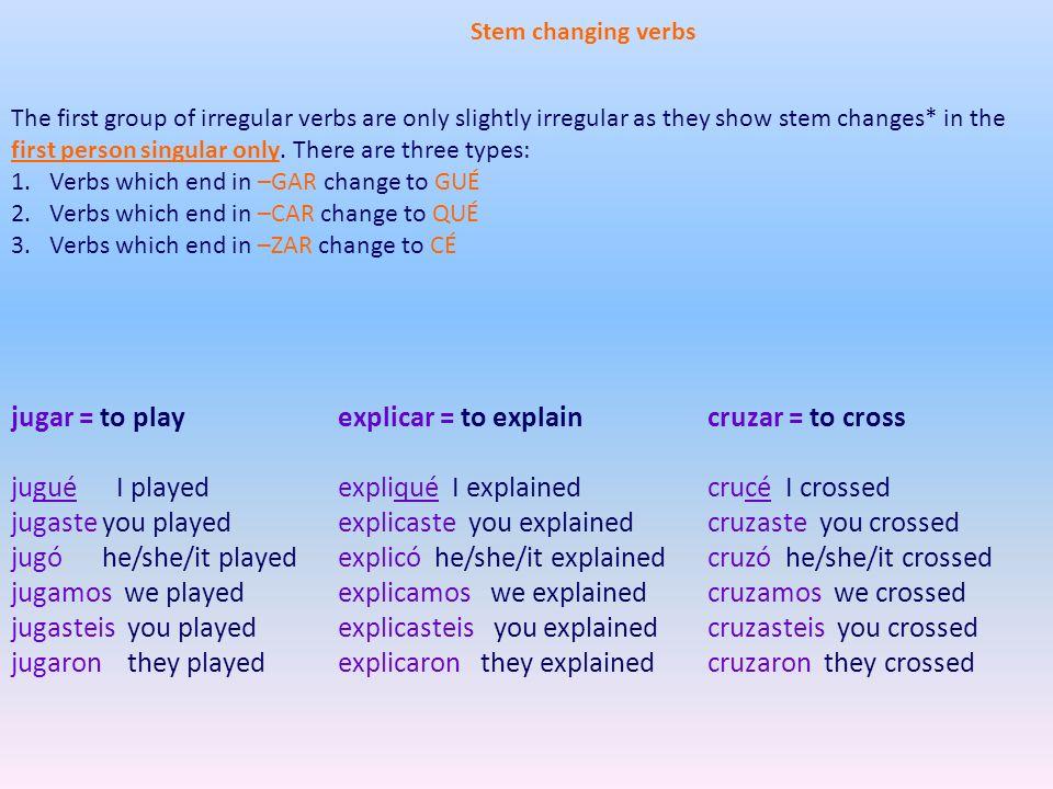 explicar = to explain expliqué I explained explicaste you explained explicó he/she/it explained explicamos we explained explicasteis you explained exp