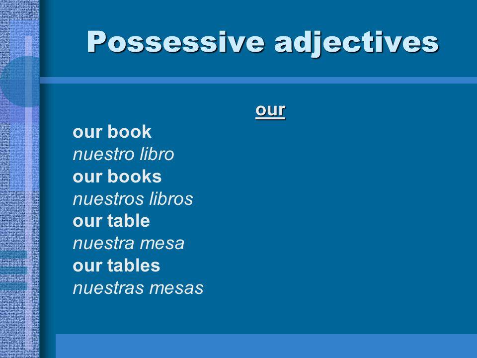 our our book nuestro libro our books nuestros libros our table nuestra mesa our tables nuestras mesas