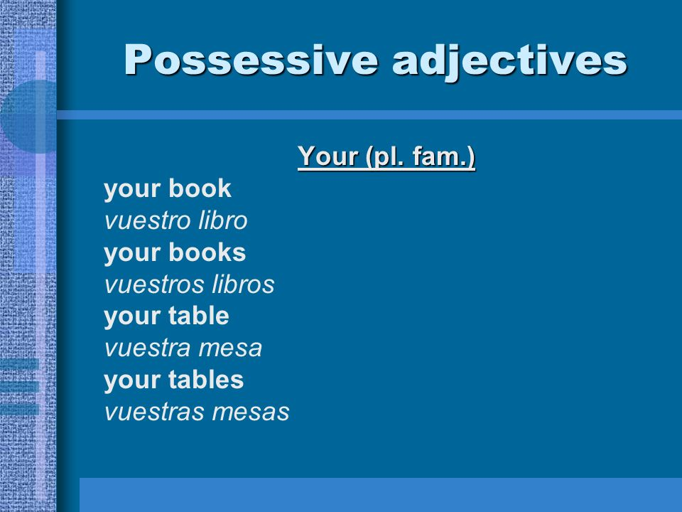 Possessive adjectives Your (pl.