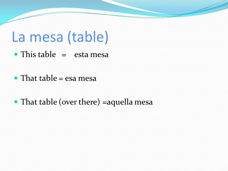 La mesa (table) This table = esta mesa That table = esa mesa That table (over there) =aquella mesa