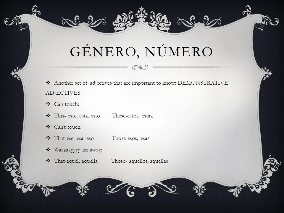 GÉNERO, NÚMERO Another set of adjectives that are important to know: DEMONSTRATIVE ADJECTIVES: Can touch: This- este, esta, esto These-estos, estas, C