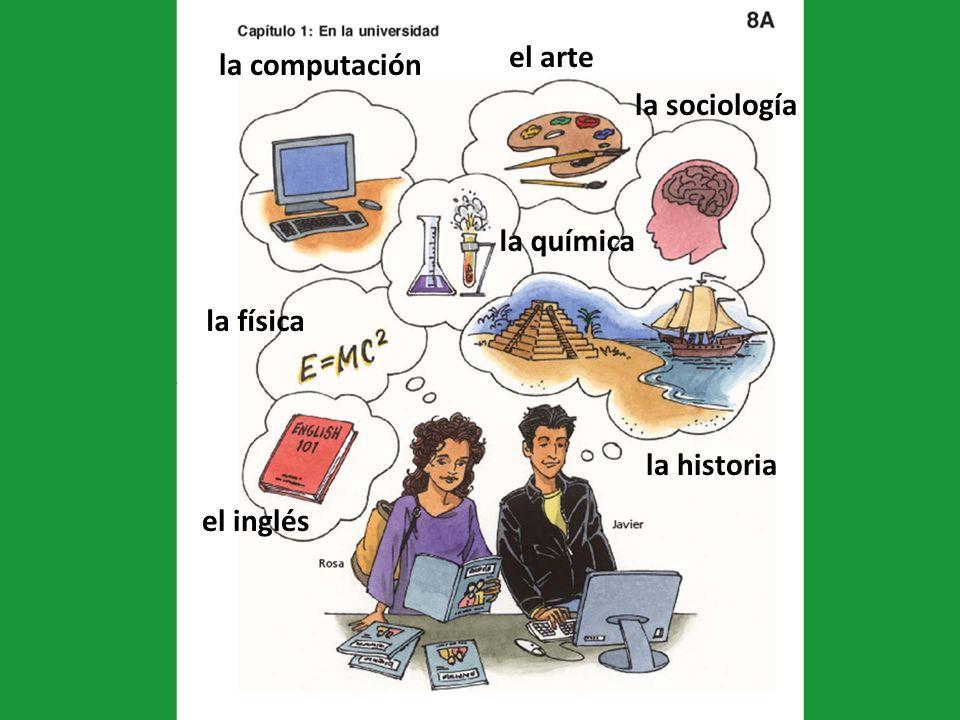 el inglés la computación el arte la sociología la historia la química la física
