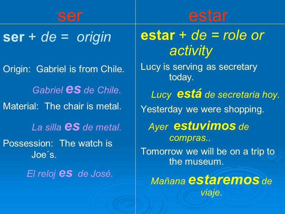 ser + expressions of clock time It is one thirty.Es la una y media.