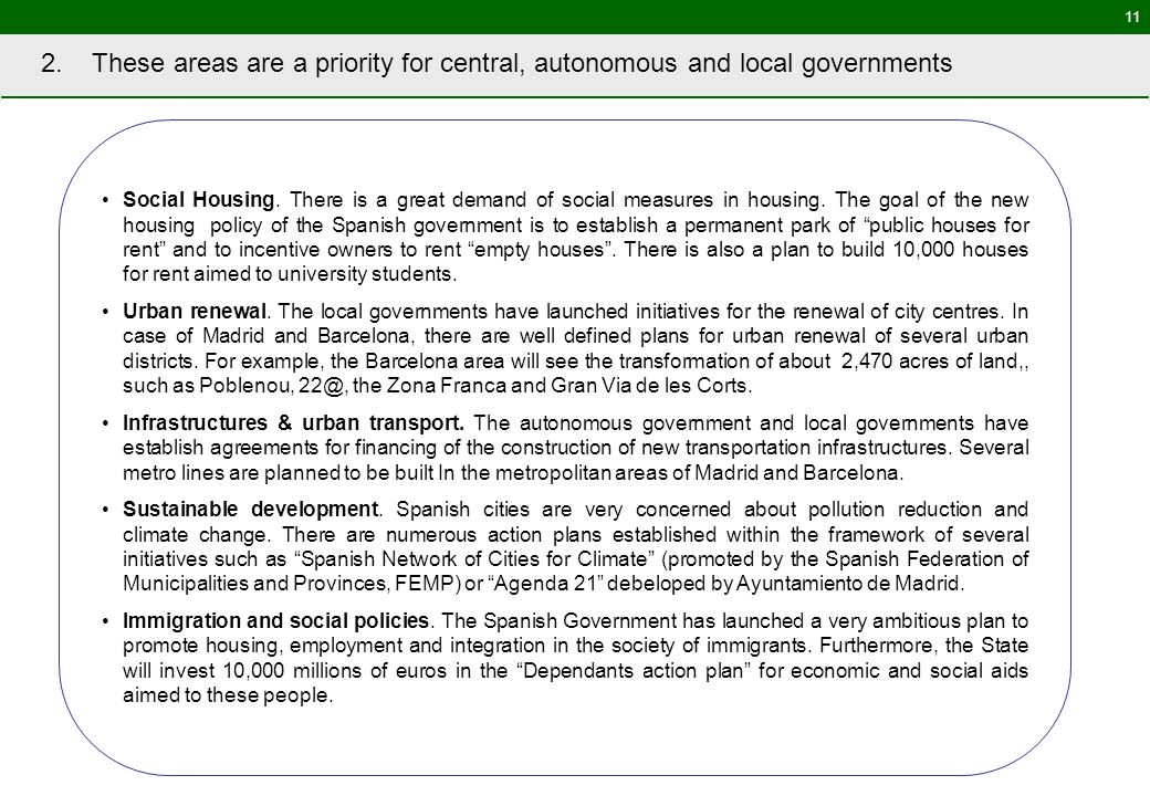 11 2. These areas are a priority for central, autonomous and local governments Social Housing.