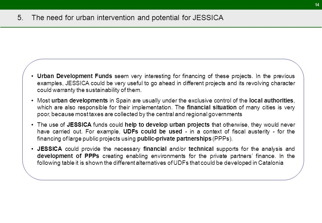 14 5. The need for urban intervention and potential for JESSICA Urban Development Funds seem very interesting for financing of these projects. In the