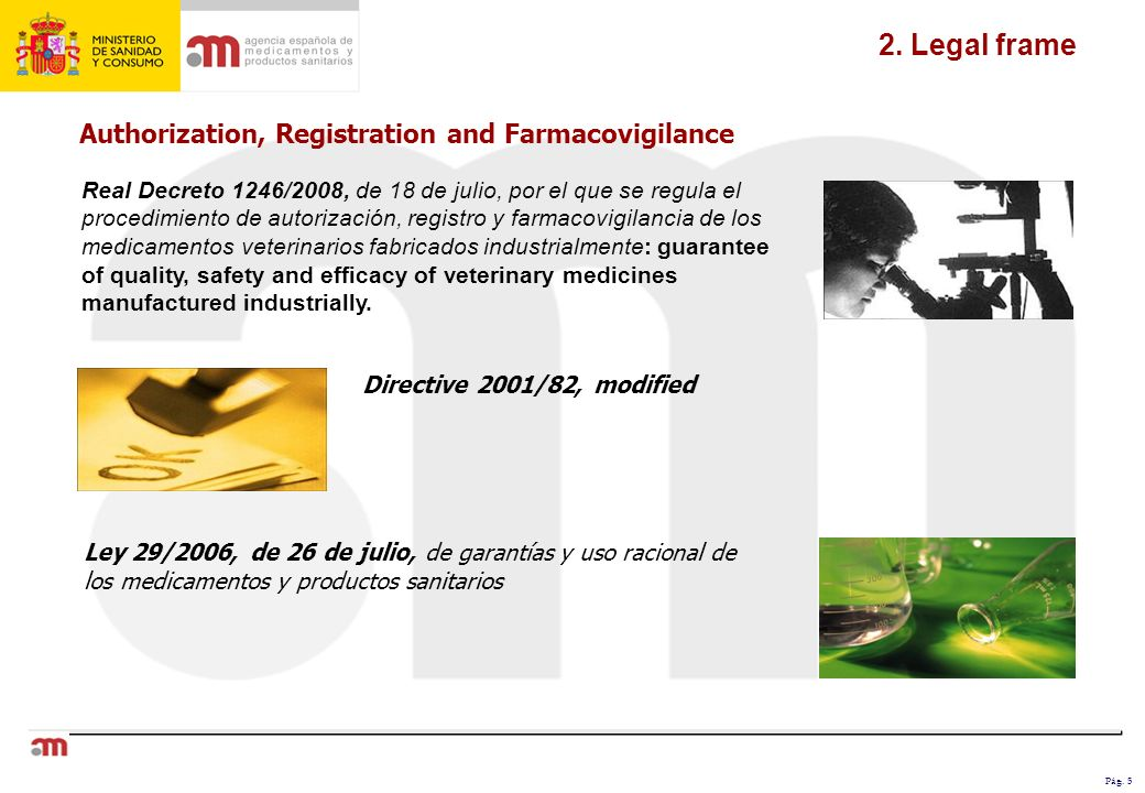 Pág. 5 2. Legal frame Authorization, Registration and Farmacovigilance Directive 2001/82, modified Real Decreto 1246/2008, de 18 de julio, por el que