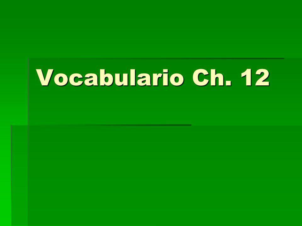 Vocabulario Ch. 12