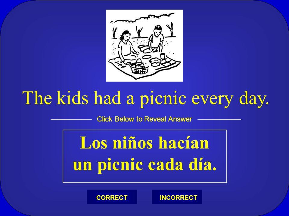 Los niños hacían un picnic cada día.