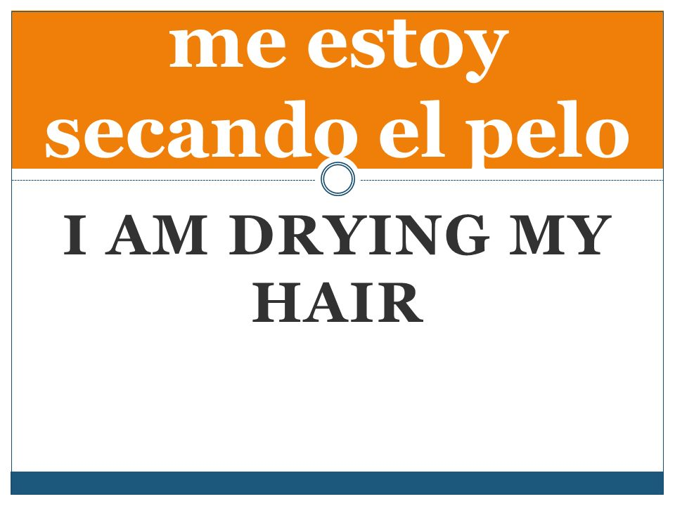 I AM DRYING MY HAIR me estoy secando el pelo