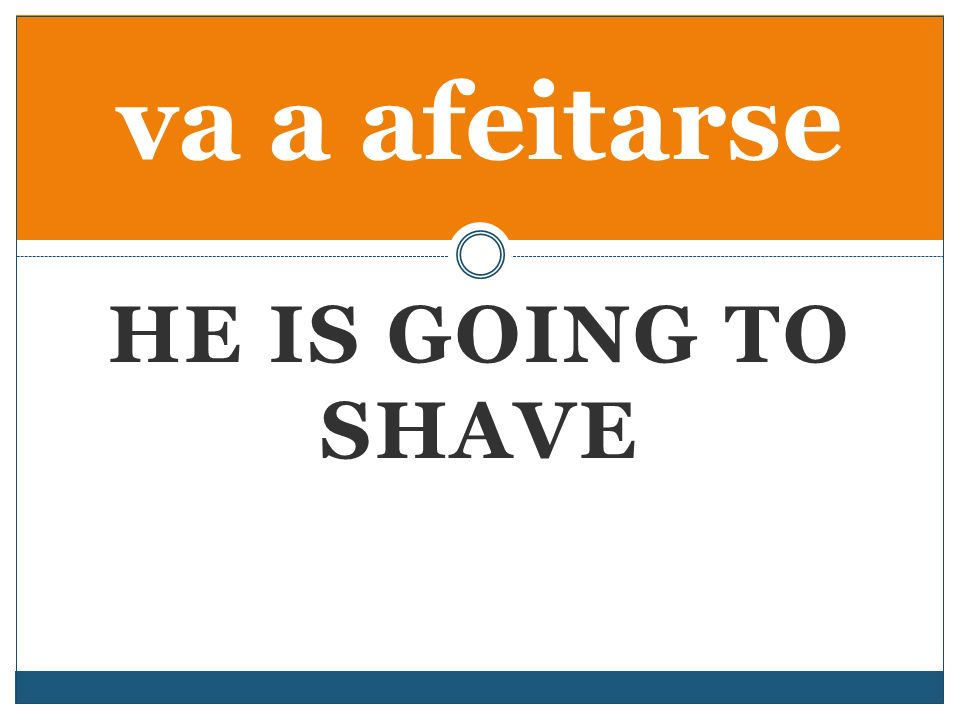 HE IS GOING TO SHAVE va a afeitarse