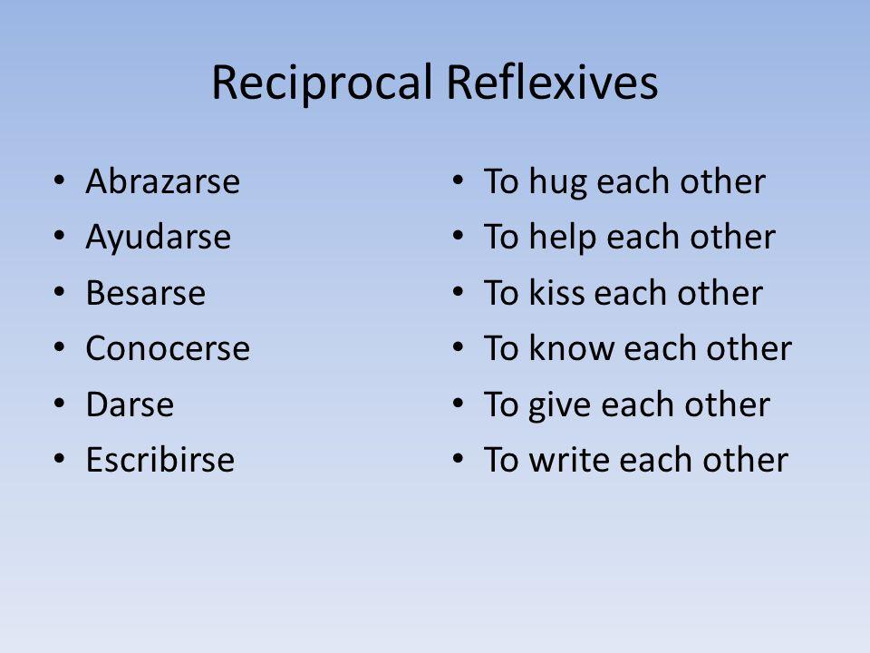 Reciprocal Reflexives Abrazarse Ayudarse Besarse Conocerse Darse Escribirse To hug each other To help each other To kiss each other To know each other