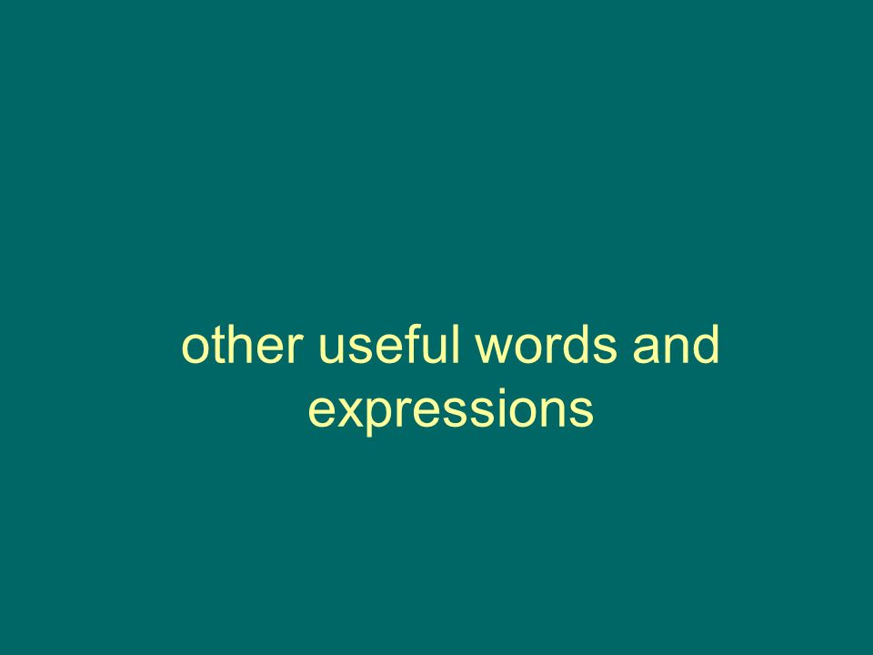 other useful words and expressions