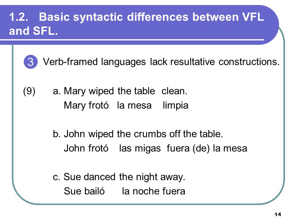14 1.2. Basic syntactic differences between VFL and SFL. Verb-framed languages lack resultative constructions. (9)a. Mary wiped the table clean. Mary