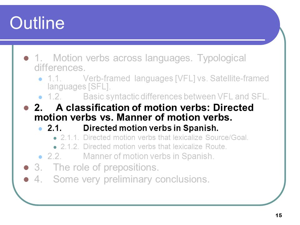 15 Outline 1.Motion verbs across languages. Typological differences. 1.1.Verb-framed languages [VFL] vs. Satellite-framed languages [SFL]. 1.2. Basic