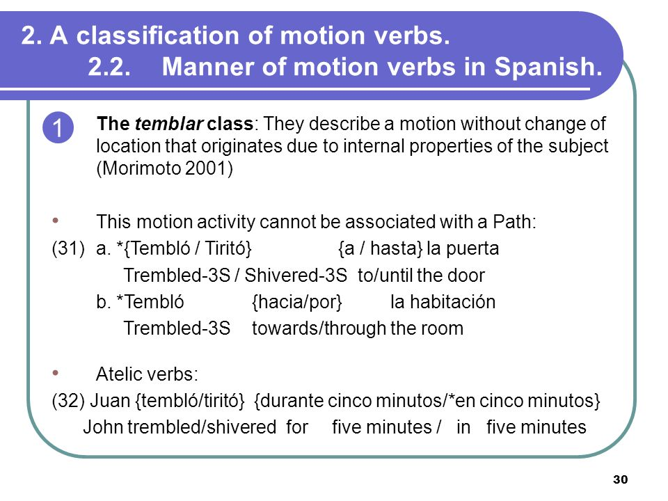 30 2. A classification of motion verbs. 2.2. Manner of motion verbs in Spanish. The temblar class: They describe a motion without change of location t